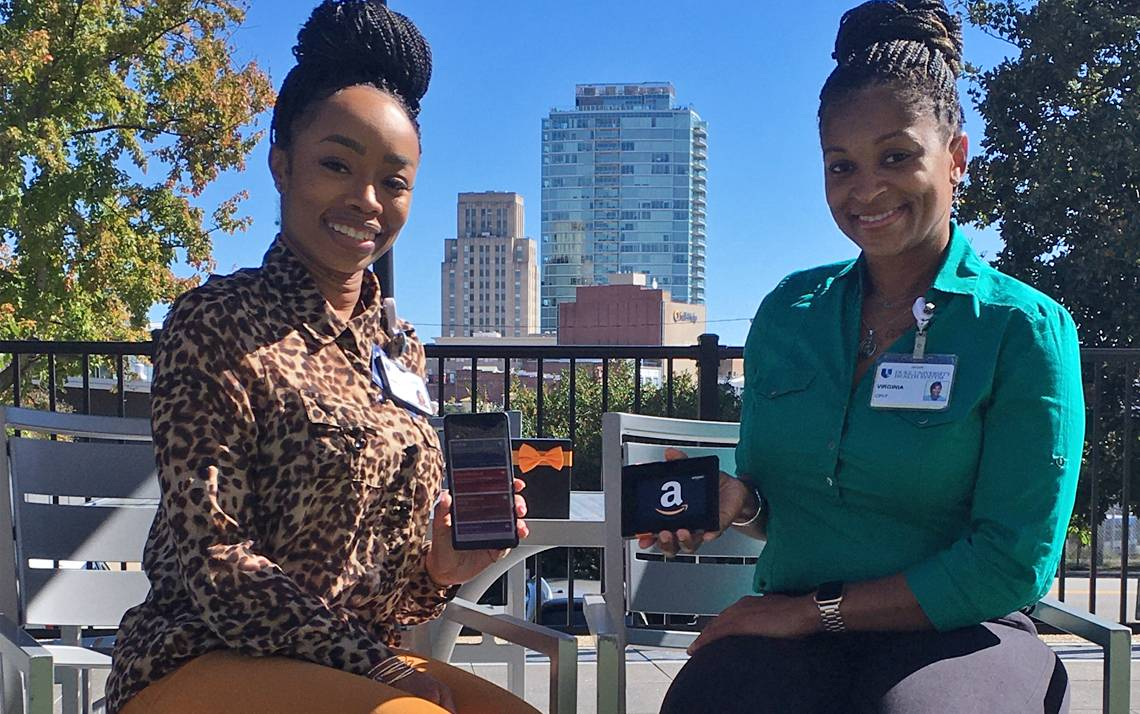 Shinita Monger, left, and Virginia McQuillan of Duke Population Health Management were among the winners in LifeSafe's Refer A Friend contest. Photo courtesy of Shinita Monger and Virginia McQuillan.