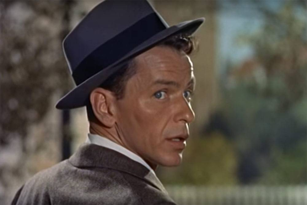 "The first image of Frank Sinatra in the movie ""Young at Heart."" Filmmakers knew how to tap into the iconic Sinatra ""look."""