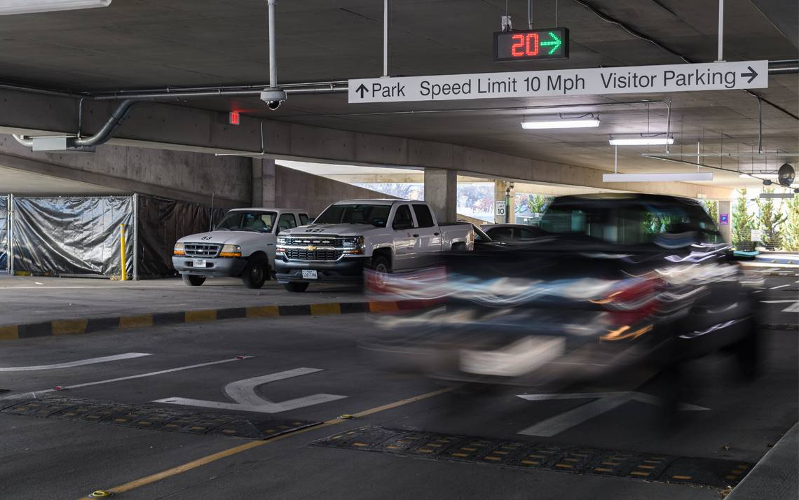 A new parking guidance system in Parking Garage 1 will make it easier for patients and visitors to find available spaces. Photo courtesy of Park Assist.