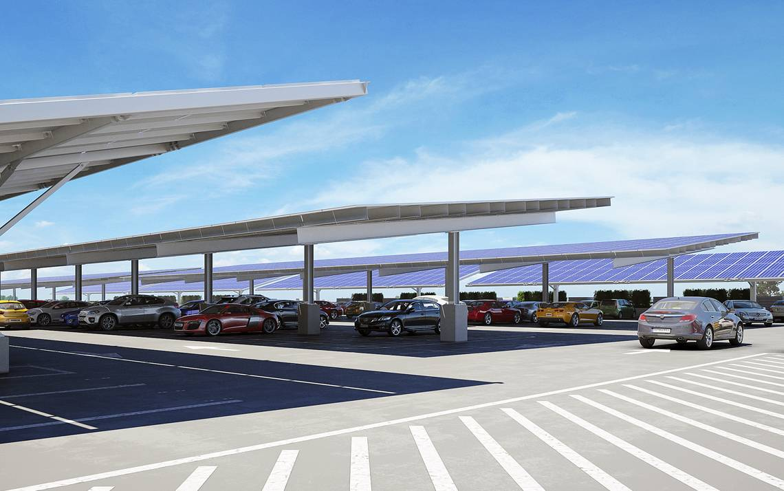 Artists' rendering of the soon-to-be-built solar panels on top of the Research Drive Parking Garage.