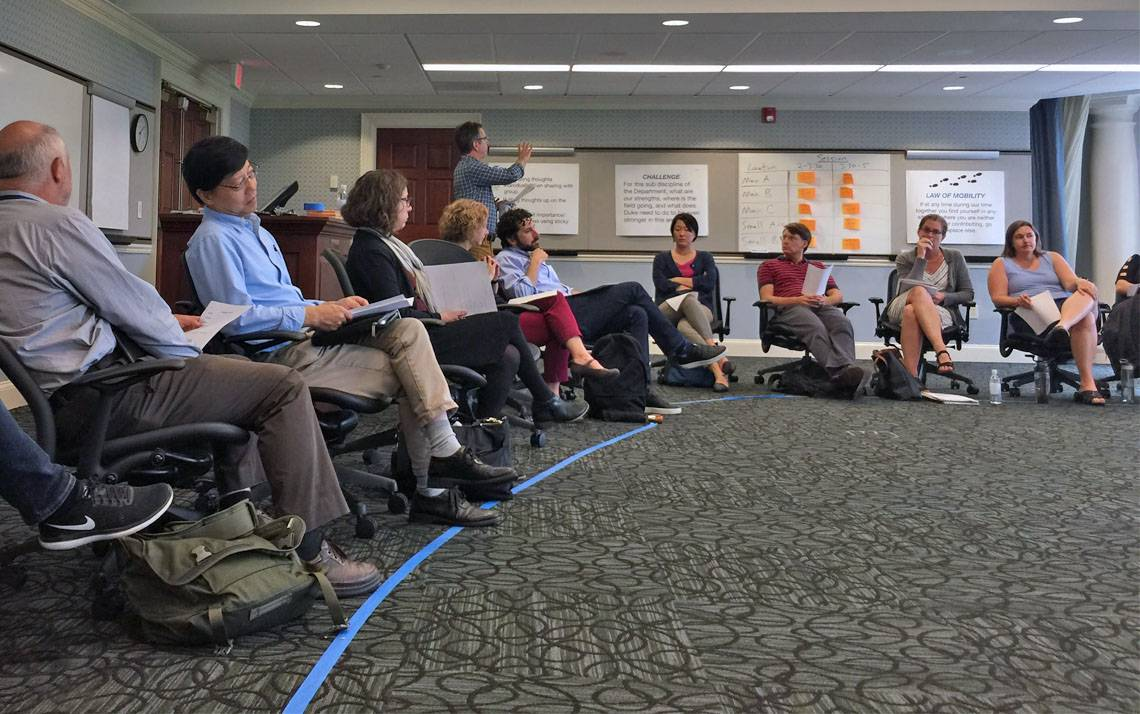 Faculty and staff of Duke's new Department of Population Health Science gather for their summer retreat.