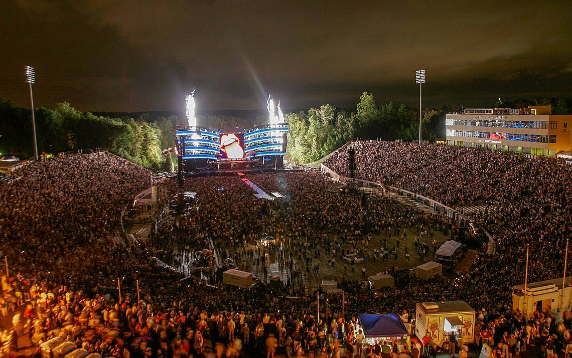 The Rolling Stones played at Brooks Field at Wallace Wade Stadium in 2005. Photo courtesy of University Communications.