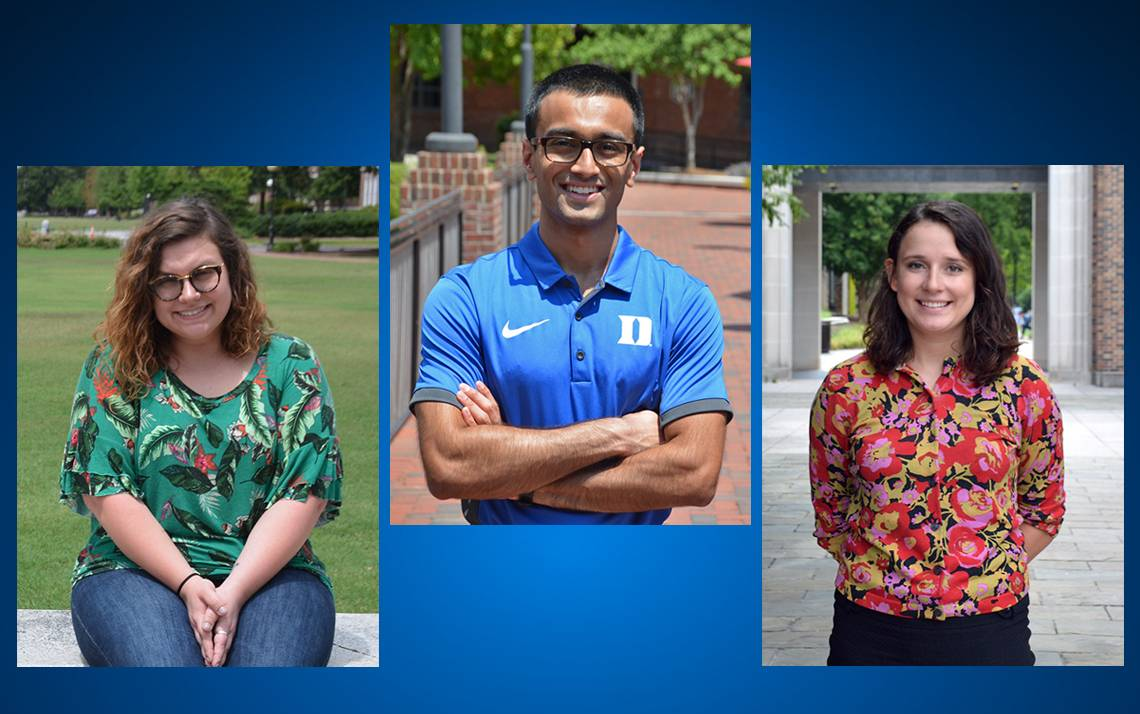 (Left to right) Manda Hufstedler, Noor Tasnim and Libby Dotson all graduated from Duke in 2018 and now work for the University.