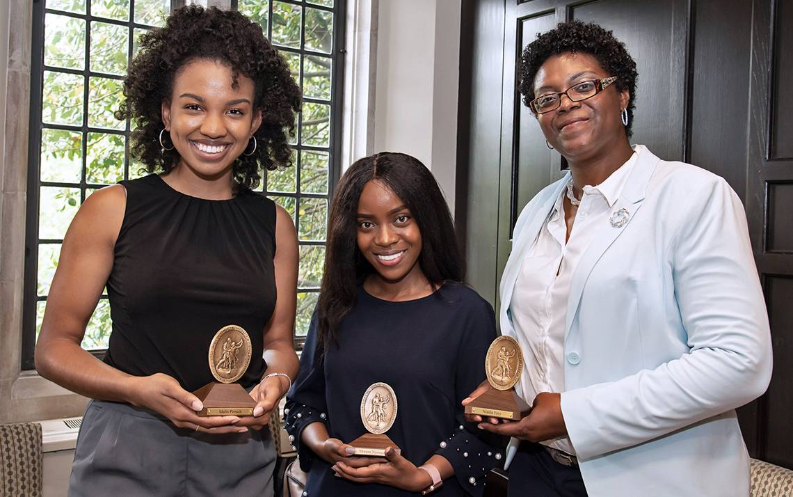 (Left to right) Idalis French, Moreen Njoroge and Niasha Fray received the 2019 Algernon Sydney Sullivan Award. Photos by Les Todd.