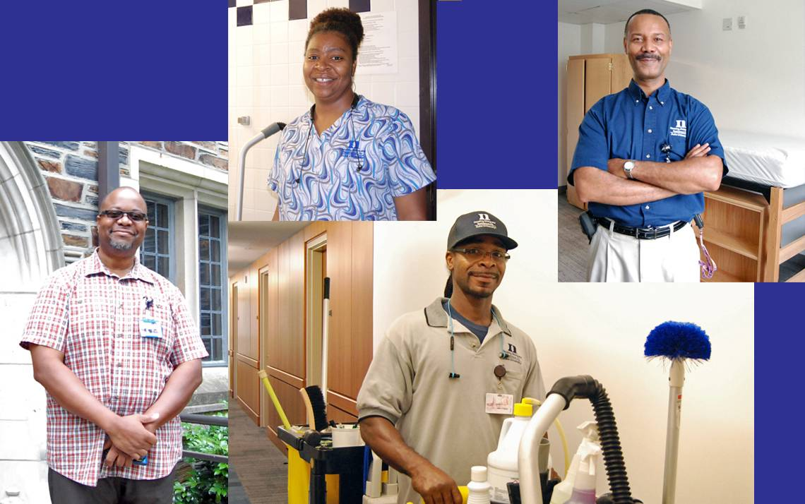 From left to right: Bernard Smith, Loretta Liles, George Johnson and Gary Vaughan all play roles in keeping Duke's residence halls in good condition.