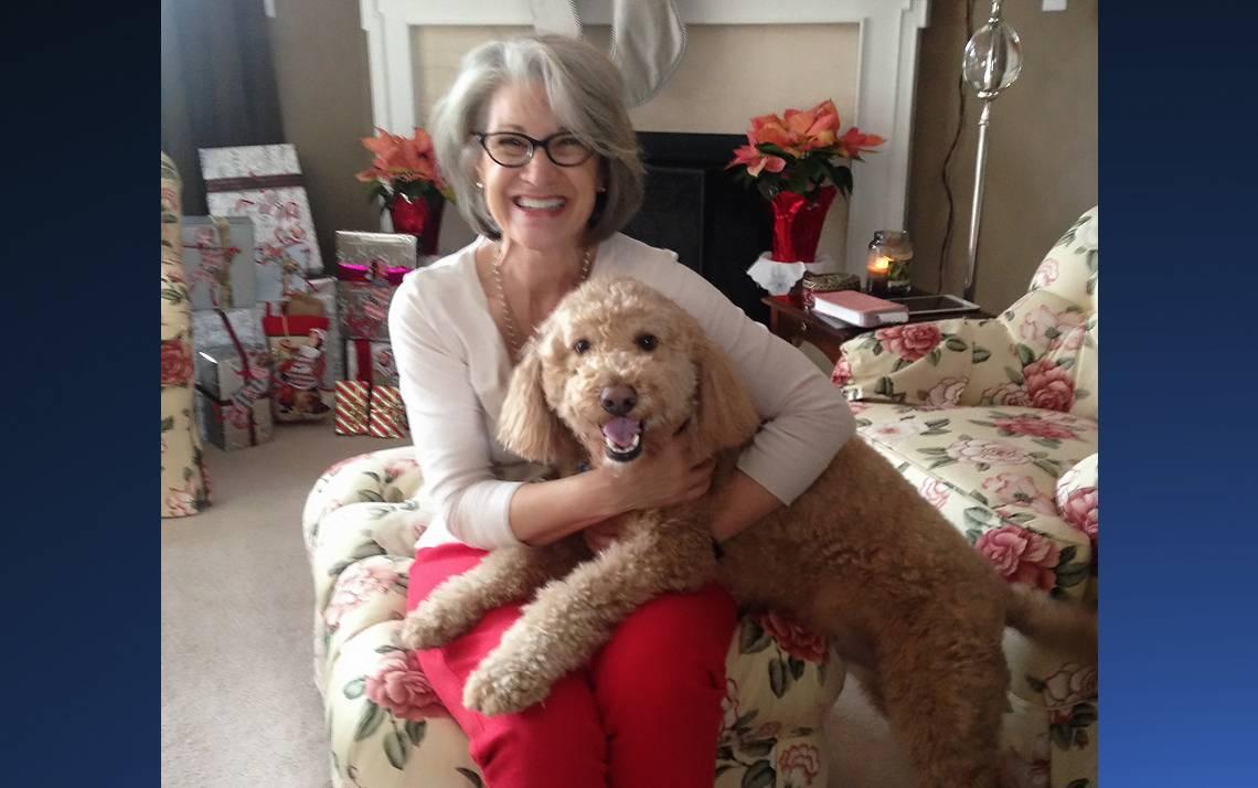 Susan Johnson with her dog, Sherlock.
