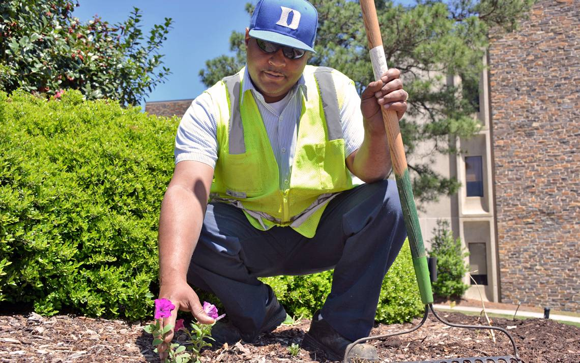 A landscape specialist for 16 years, Terrence Williams helps make Duke beautiful.