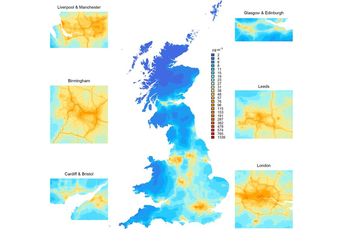 A map of England, Scotland and Wales, showing Nitrogen Oxide (NOx) concentrations. (Aaron Reuben, Duke)