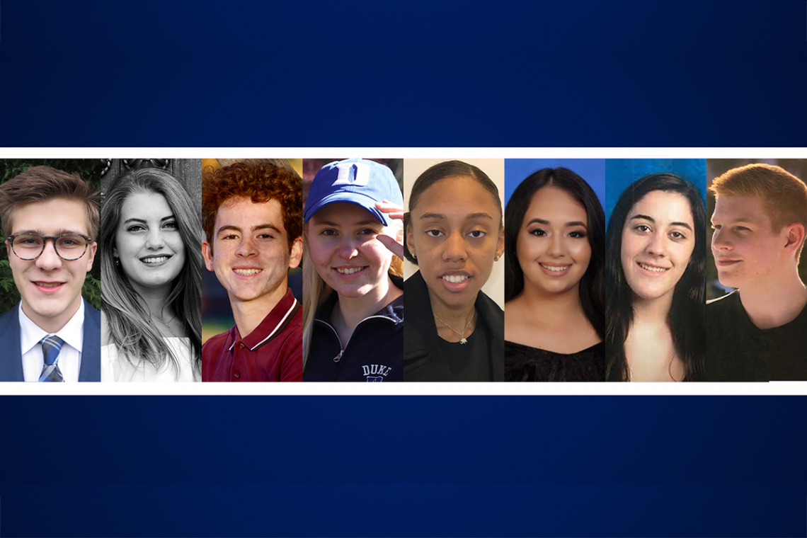 Class of 2023 University Scholars: Aden Klein, Cecilia de la Guardia, Karam Oubari, Maya Lytje, Nadia Bey, Nicole Izquierdo, Sophia Cetina, and Nathan Ostrowski.