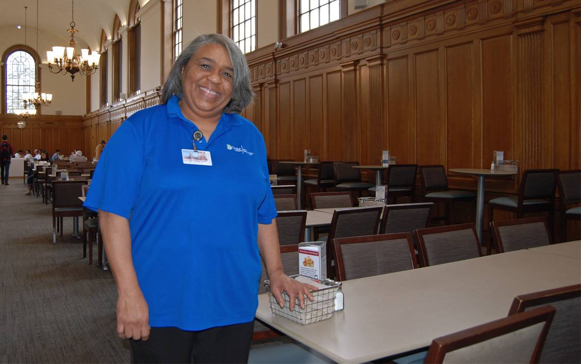 Duke Dining's Valerie Williams has been a familiar face to Duke students for several decades. Photo by Stephen Schramm.