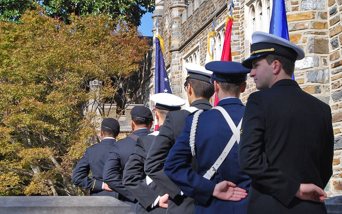 Members of Duke's ROTC units prepare to present the colors at last year's Veterans Day Ceremony. Photo by Stephen Schramm.