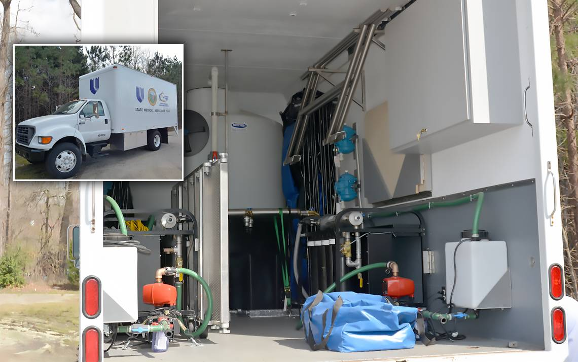 Duke's water filtration truck, which features a filter system mounted on a box truck, can pump out 2,400 gallons on drinkable water per hour.