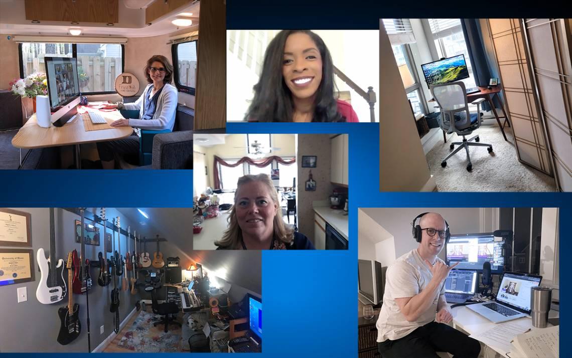 Clockwise from top left: Kathy Franz, Deondra Rose, Scott Behm's home office, Jason Van Sant, Joan Albright and Steve Toback's home studio.