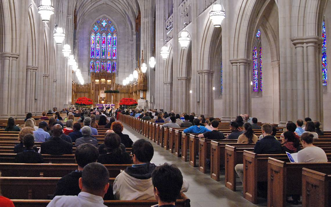 Members of the Duke community gathered to listen to festive music and enjoy lunch together at last year's Duke Employee Holiday Concert. Photo by Stephen Schramm.