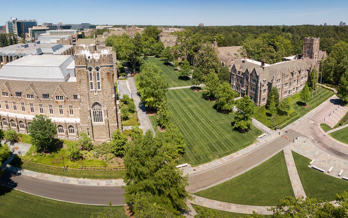 Aerial of Duke University showing Abele Quad