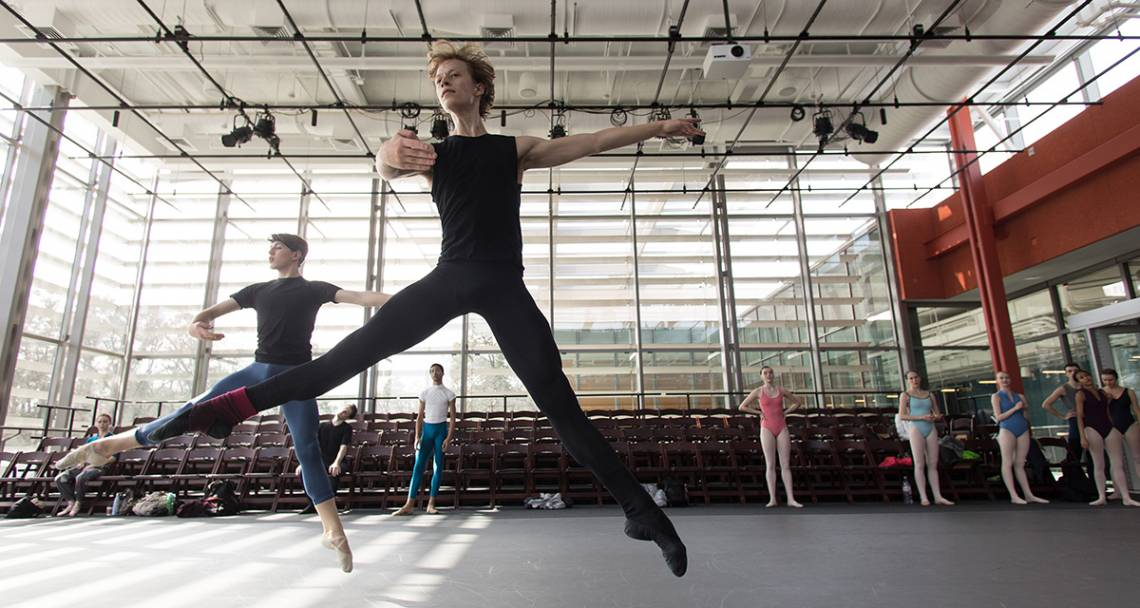 The ABT studio company runs through a workout in the Rubenstein Arts Center. Photo by Alex Boerner