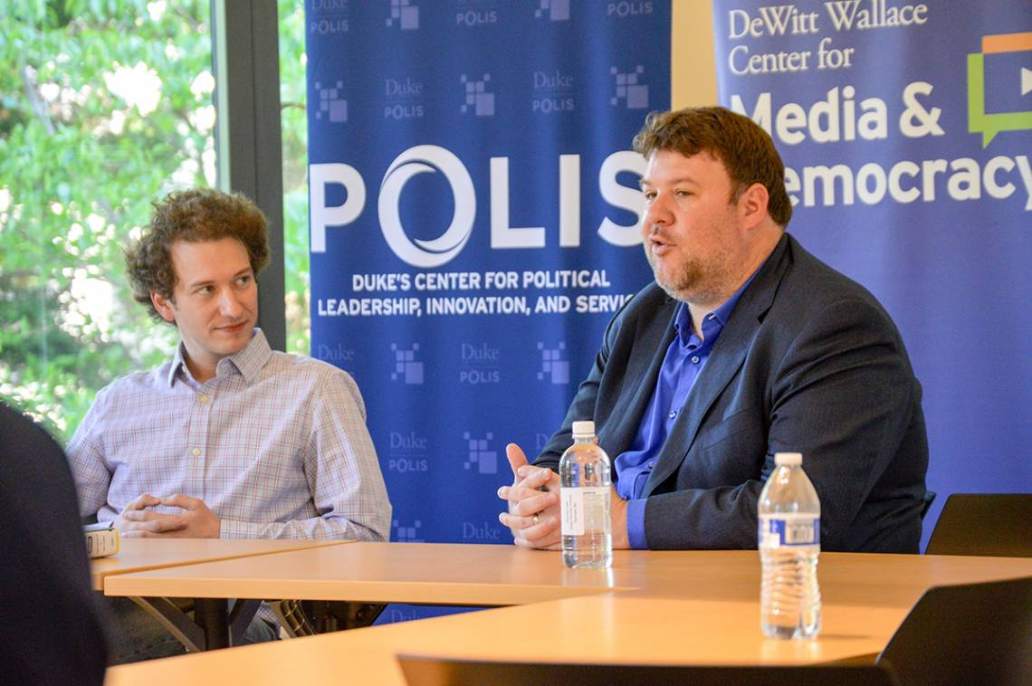 Jonathan Allen of NBC News shares with a POLIS class current challenges in political journalism. Photo by Joel Luther.