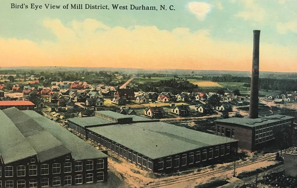 A bird's eye view of a Durham mill village