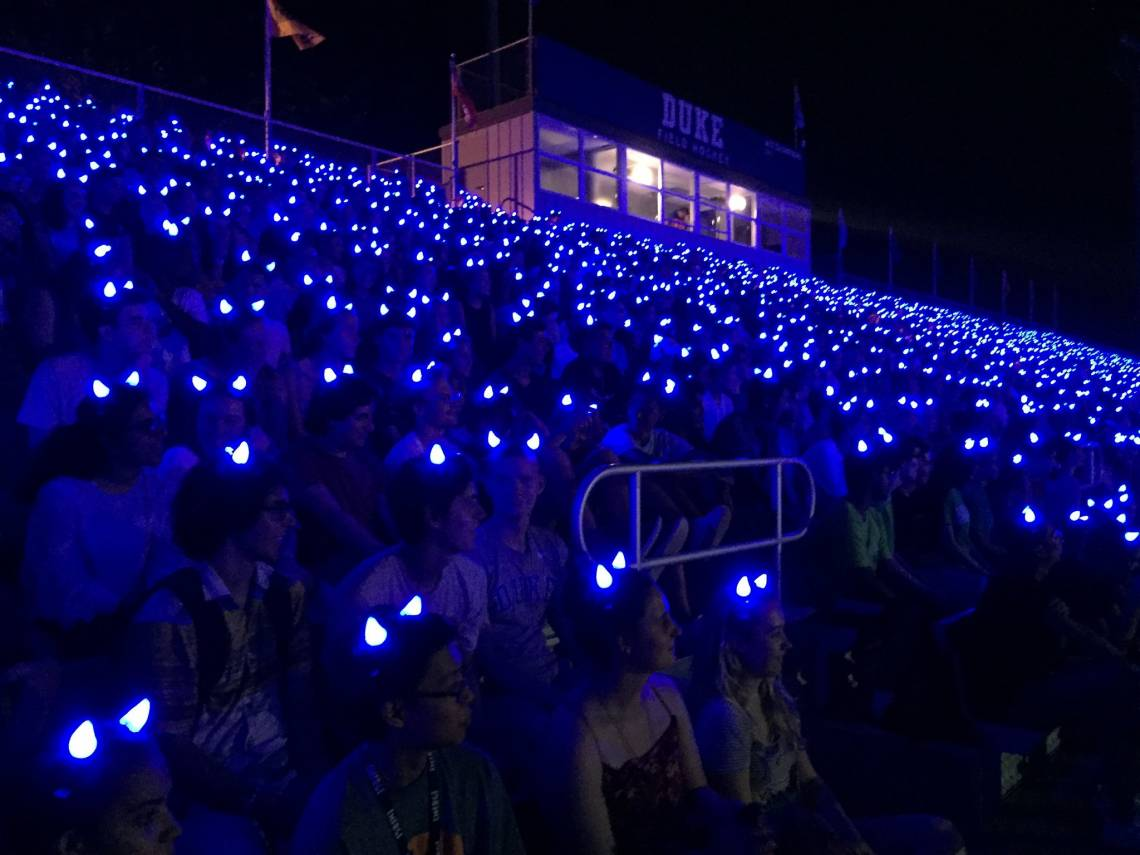The Class of 2023 put on lighted Blue Devil horns for a night photo Tuesday night.