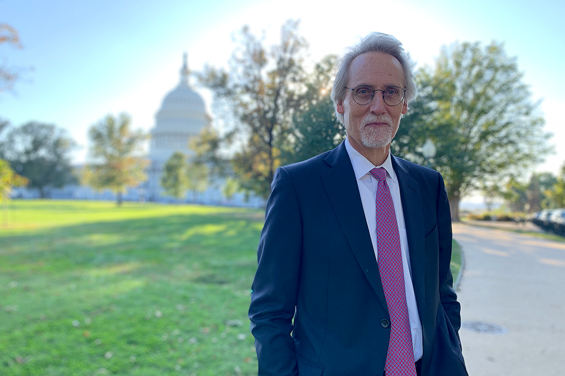 Dean Bill Boulding outside the US Capitol, where he presented a report on immigration and the US economy on Tuesday.