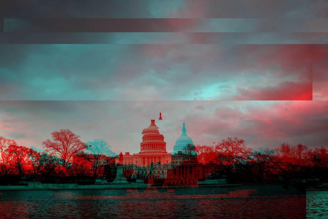 graphic of the US Capitol fragmented by American politics