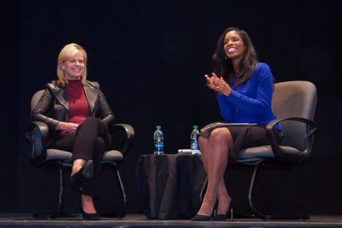 Journalist Gretchen Carlson talks with Sanford Professor Deondra Rose about taking action against sexual harassment. Photo courtesy Duke Women's Center.
