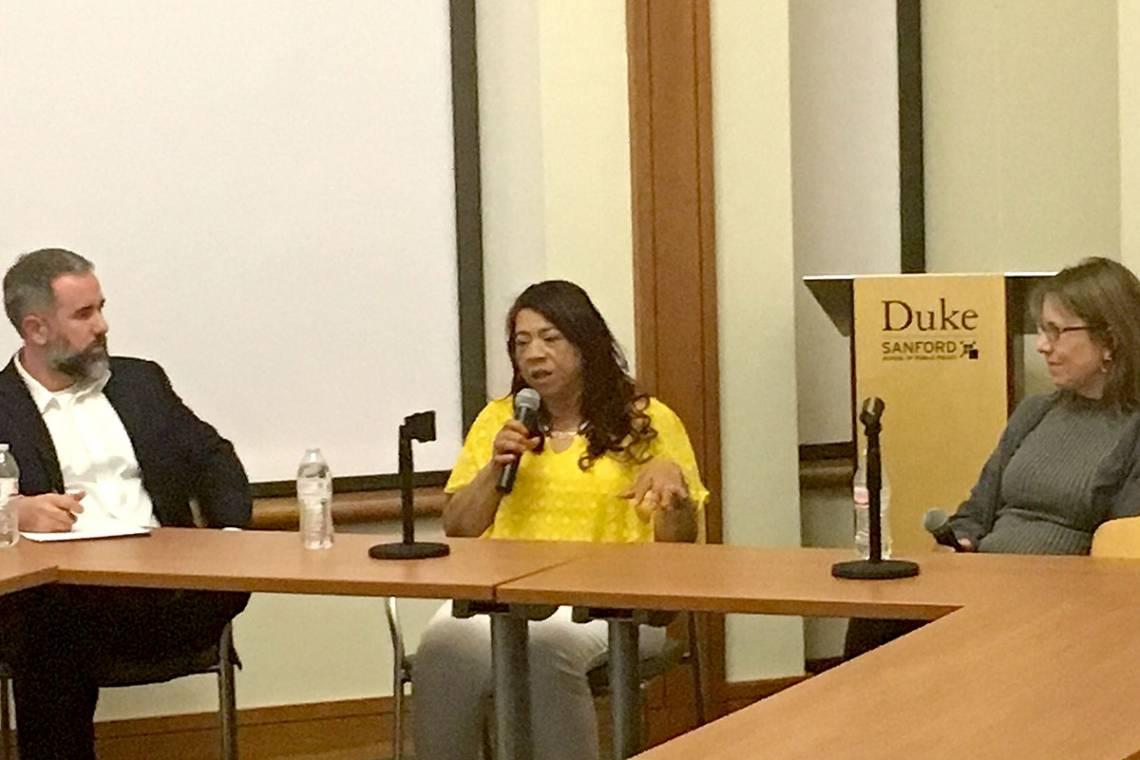 Carmen Castillo talks politics, with Professor Nick Carnes and filmmaker Margo Guernsey.