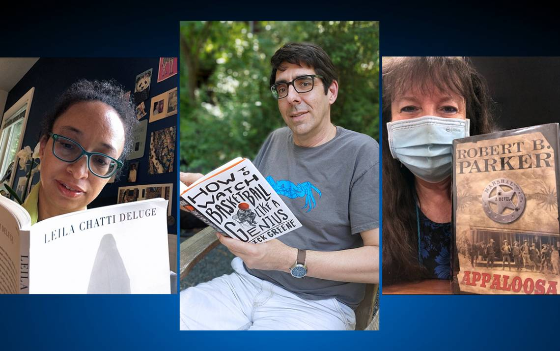 Left to right: Tsitsi Ella Jaji, Mark Borsuk and Sherry Harrell read their summer books.
