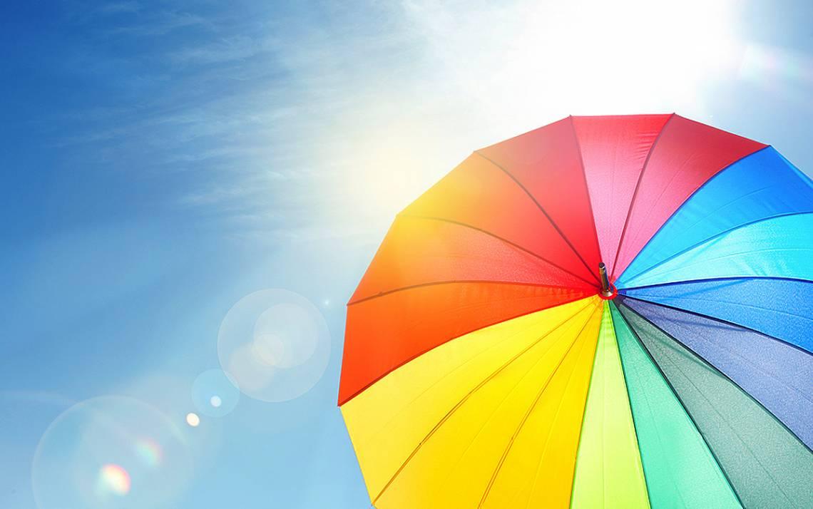 An umbrella in the sun.