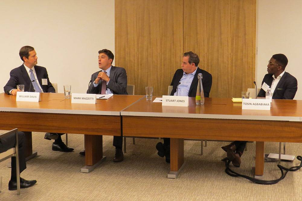 Journalist and Duke alumnus Mark Mazzetti discusses the global refugee crisis at a Duke in DC panel. Photo by Jeff Harris