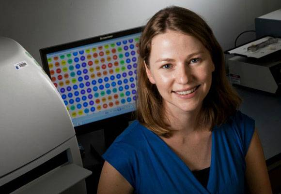 Duke Chemistry Professor Emily Derbyshire is the recipient of AAAS Marion Milligan Mason Award. Photo by Duke University Photography..