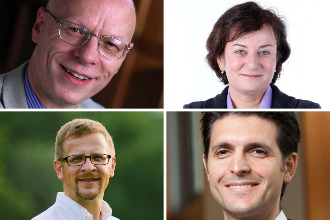 New distinguished professors: Jeremy Begbie, Emily Klein, Michael Zavlanos and Norman Wirzba.
