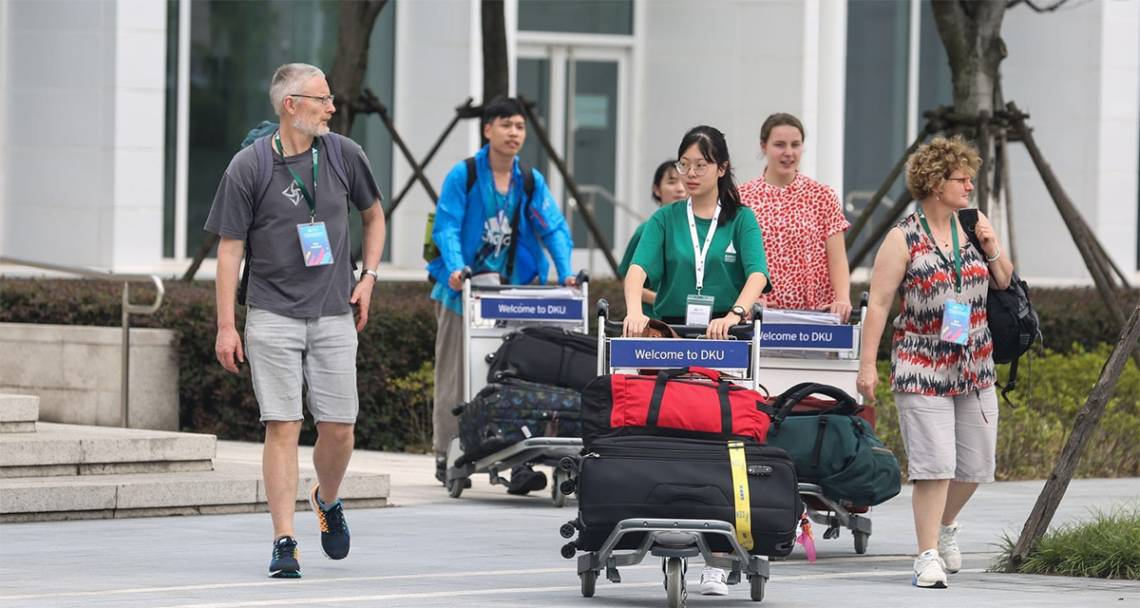 Students and family members move their belongings into residence halls Monday at Duke Kunshan University. Courtesy Duke Kunshan University