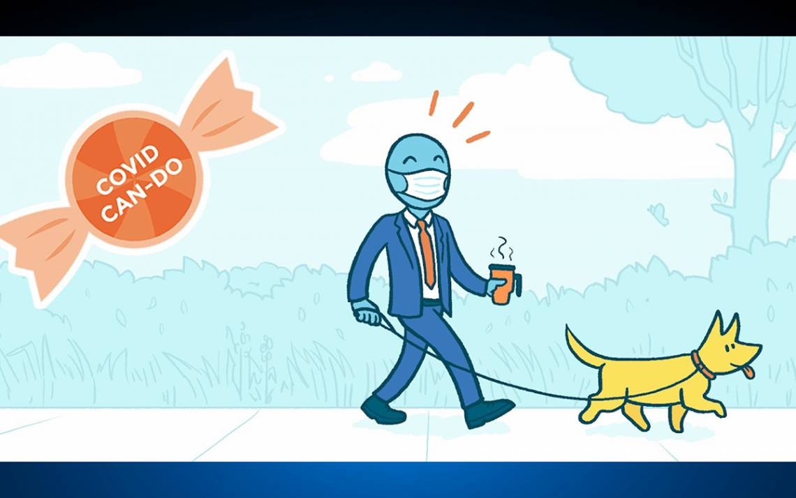 Duke's Center for Advanced Hindsight is providing simple tips to help during the COVID-19 pandemic. One is to take a walk when you normally commute. Illustration by Matt Trower.