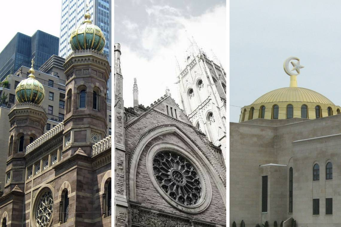 Photos of various kinds of American religious spaces, including a synagogue, chapel and mosque.