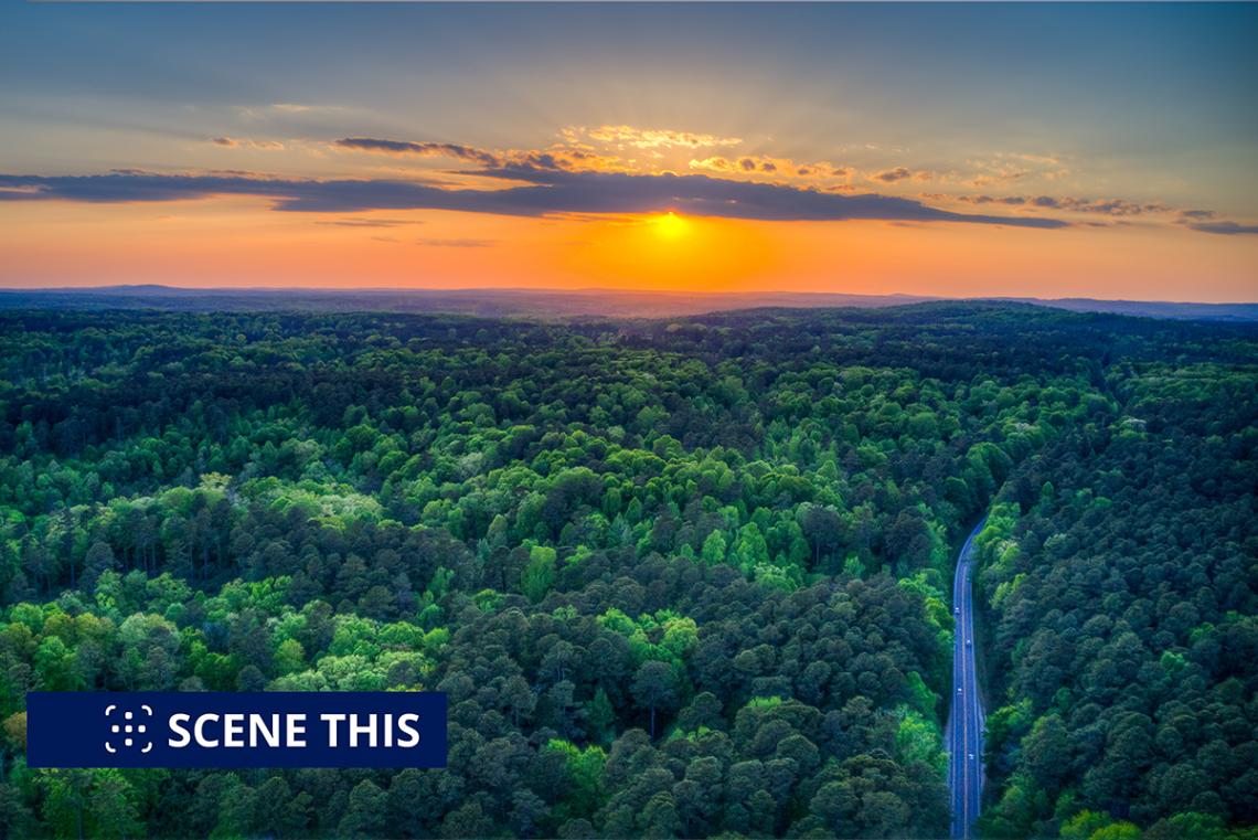 sunset over Duke Forest