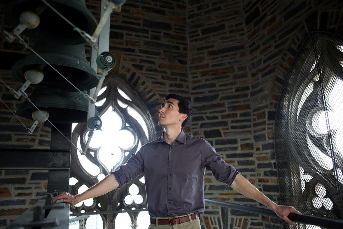 Joseph Fala on the Duke Chapel carillion