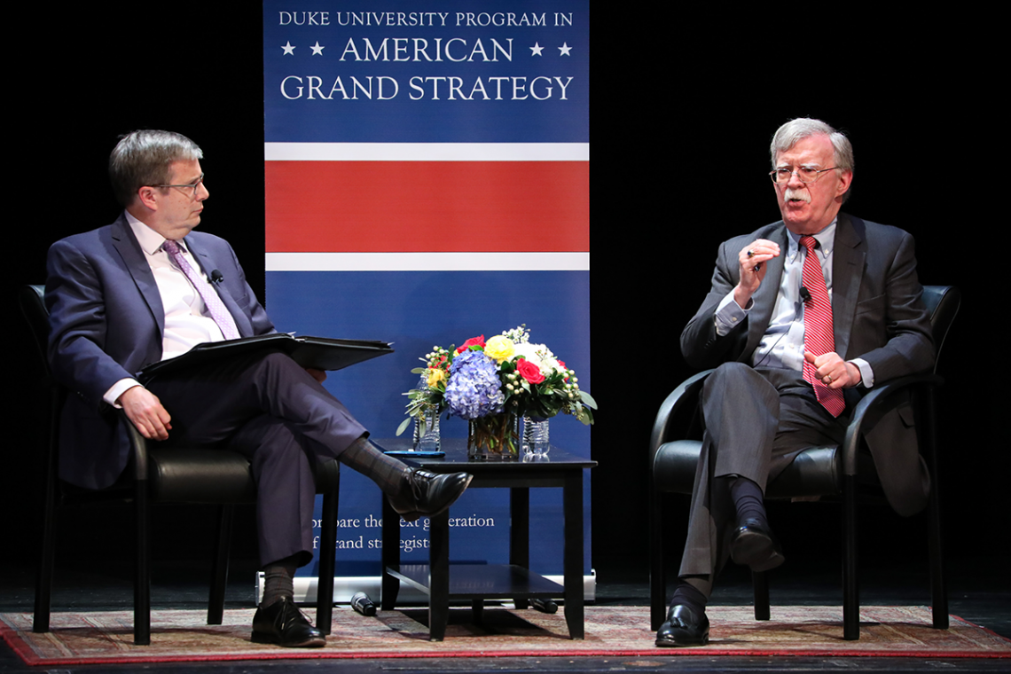John Bolton, right, and Professor Peter Feaver share a conversation on American foreign policy. Photo by Colin Huth