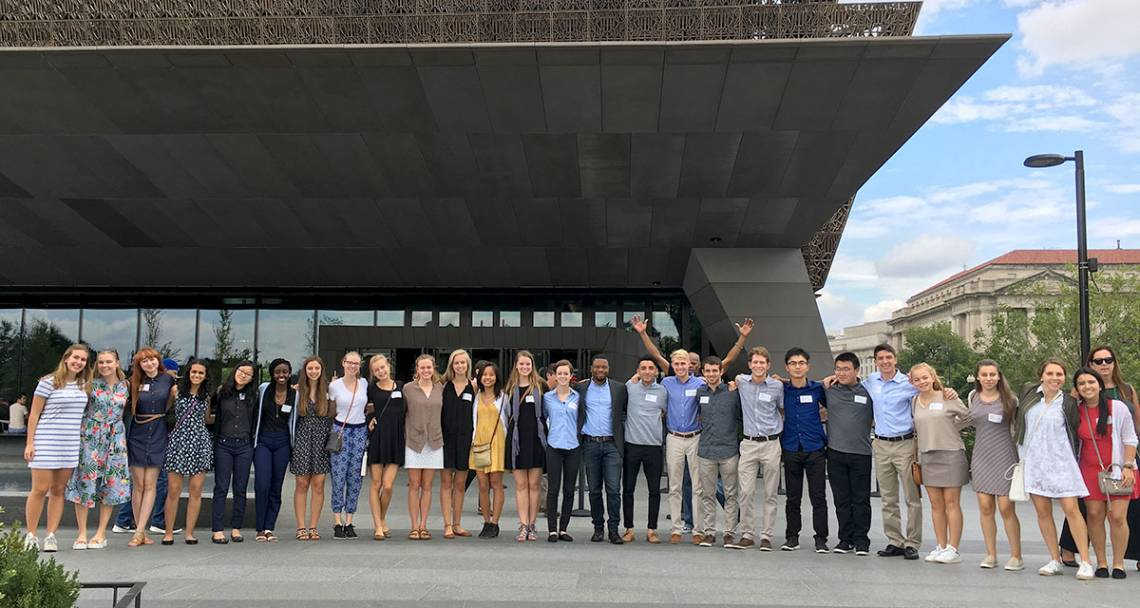 Kenan Ethics FOCUS cluster in front of the Museum of African American History and Culture in Washington DC. Picture courtesy Christian Ferney.