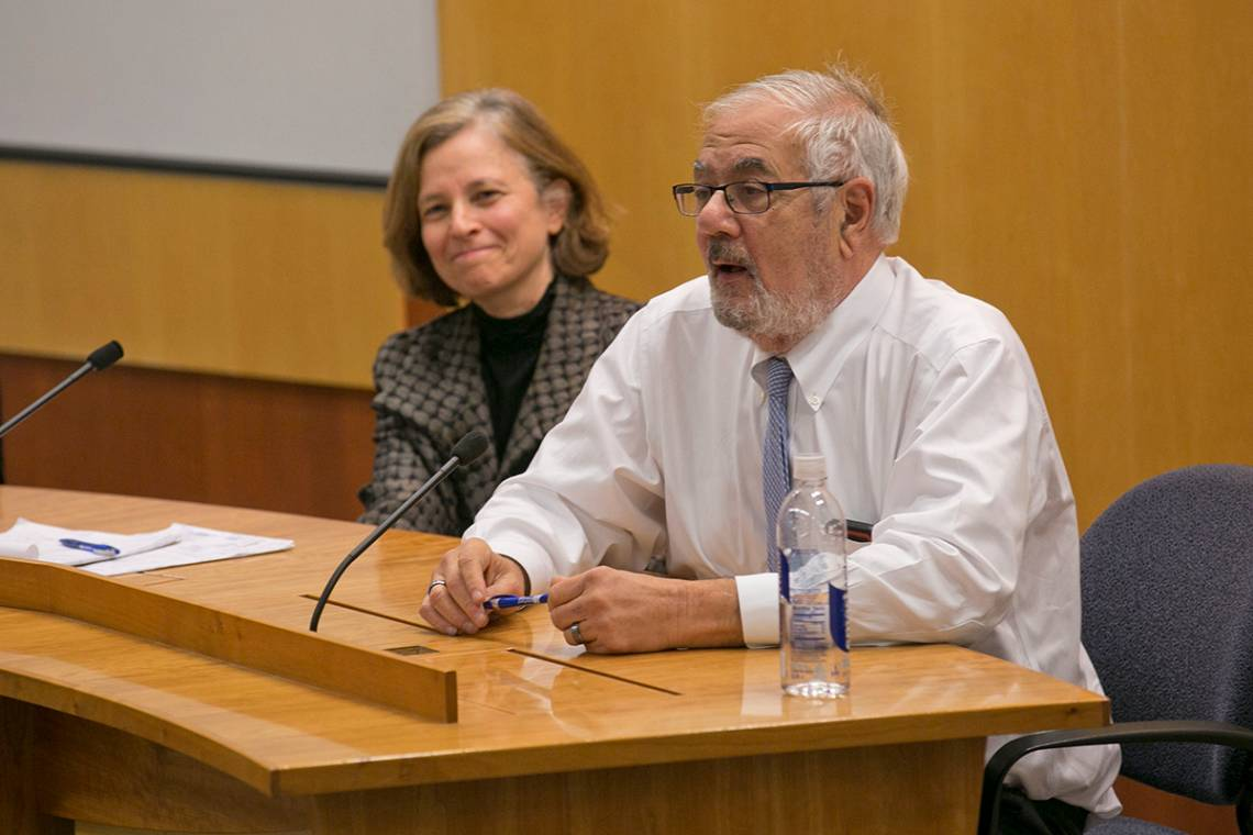Sarah Bloom Raskin and Barney Frank discuss regulatory and legislative protections for consumers. Photo by Megan Mendenhall/Duke Photography