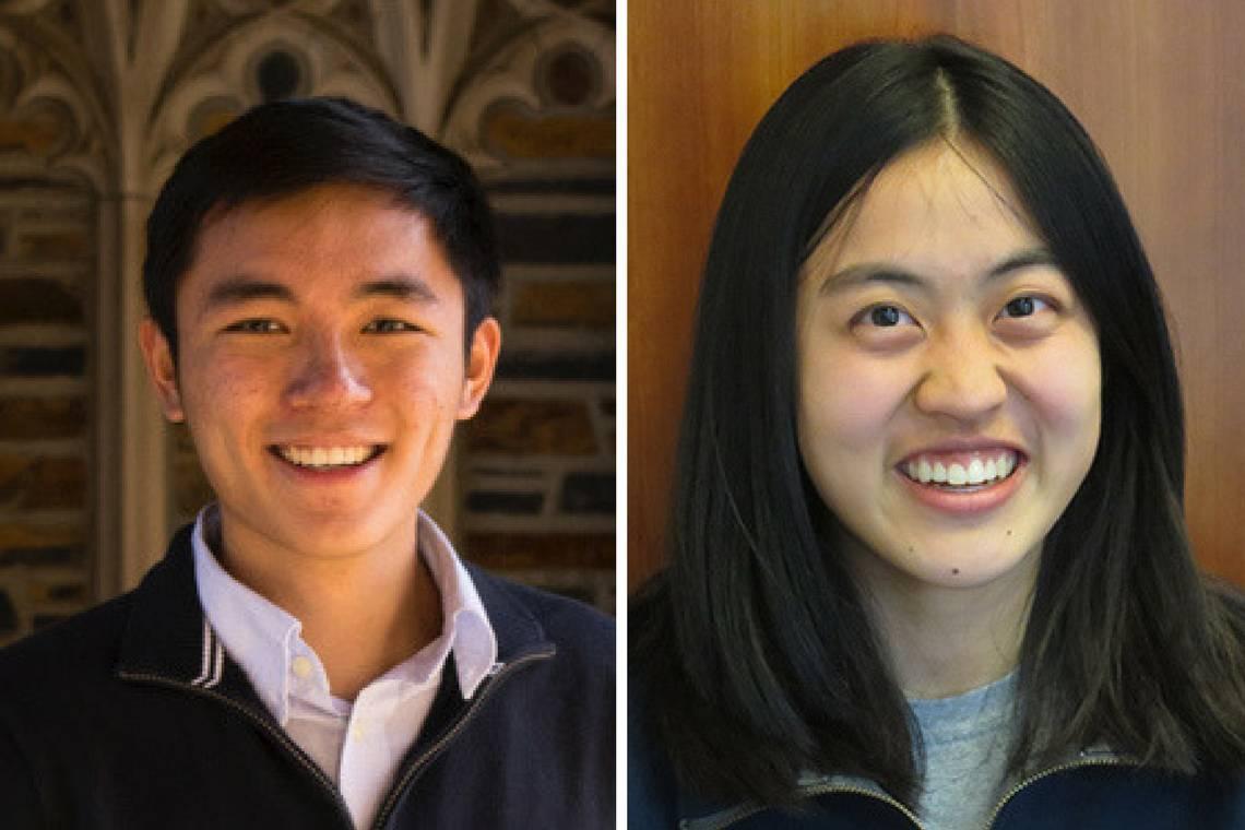 2017 Goldwater Scholarship recipients John Lu and Karen Xu