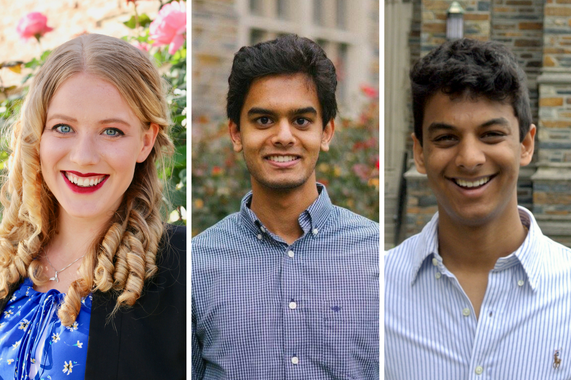 Goldwater Scholars: Samantha Bouchal, Shomik Verma and Pranav Warman
