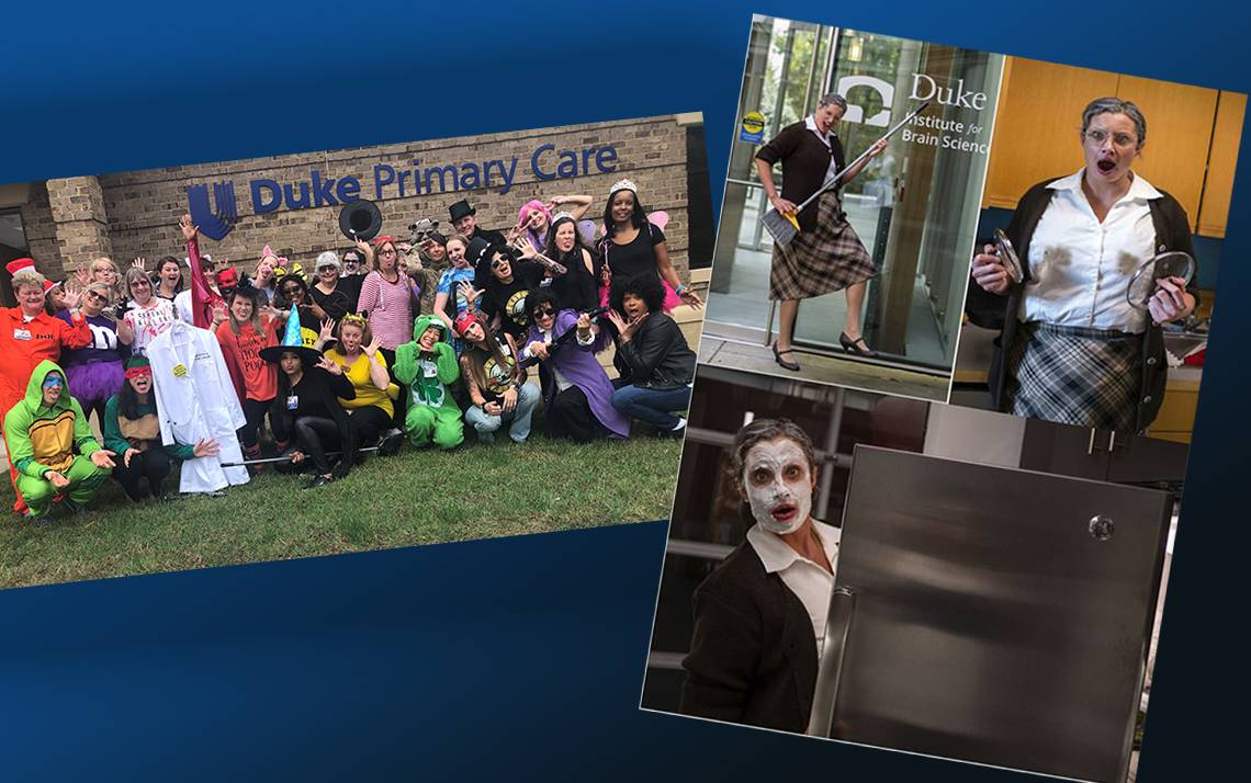 Duke Primary Care Butner-Creedmooor, left, and Tyler Lee, right, are the 2019 Blue Devil Halloween Photo Contest winners.