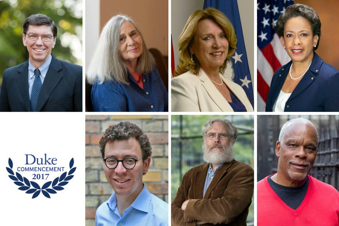 2017 honorary degree recipients: Clockwise from left, Clayton Christensen, Marilynne Robinson, Deborah Lee James, Loretta Lynch, Stanley Nelson, George Church and Luis von Ahn.