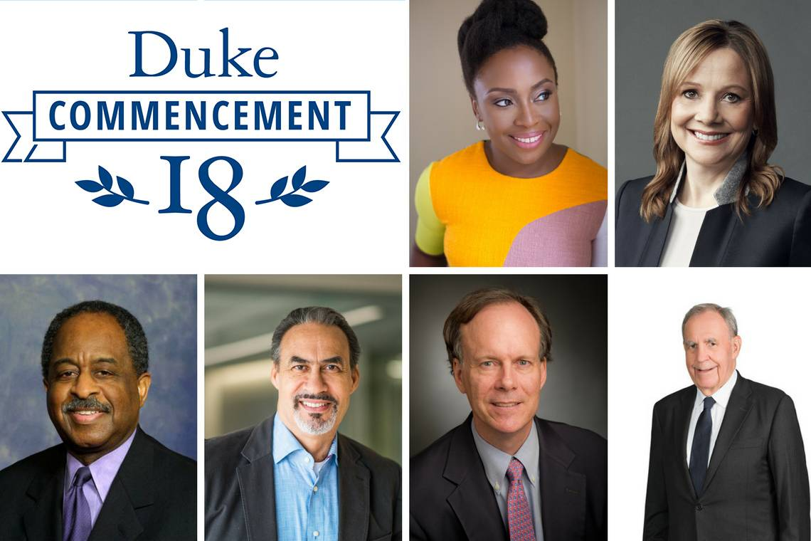 2018 honorary degree recipients: Chimamanda Ngozi Adichie; Mary Barra; William Bell; Phil Freelon; William Kaelin; and Russell M. Robinson II.