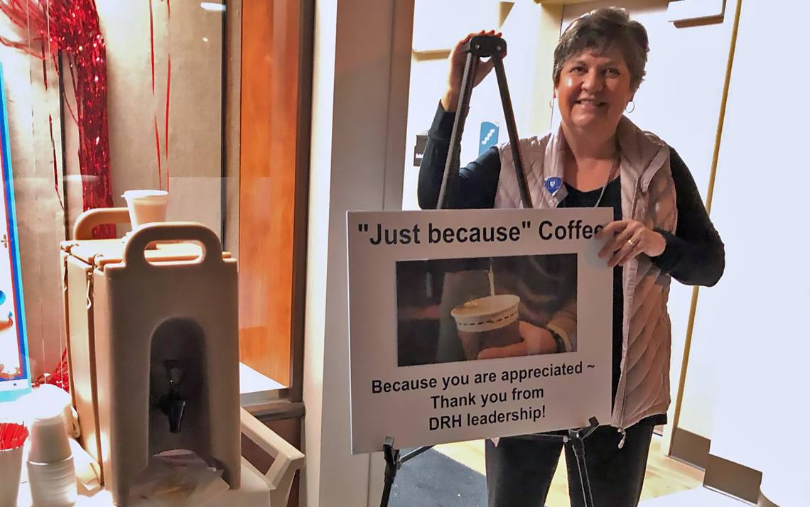 Duke Regional Hospital's Margie Muir recently welcomed colleagues to work with free hot coffee. Photo courtesy of Duke Regional Hospital.