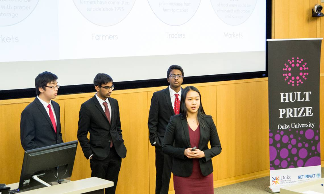 mPower presents its winning concept to ease food supply issues in India. Photo by Katherine Black
