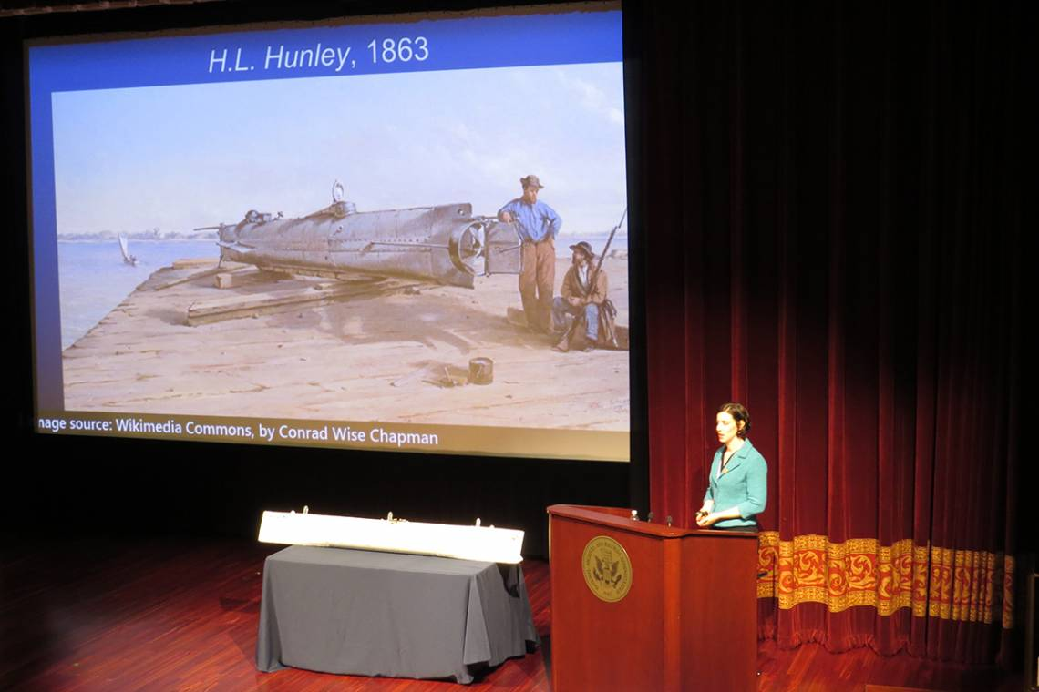 Rachel Lance at the US Archives presents her research on the death of the crew of the H.L. Hunley. Photo by Jeffrey Harris.
