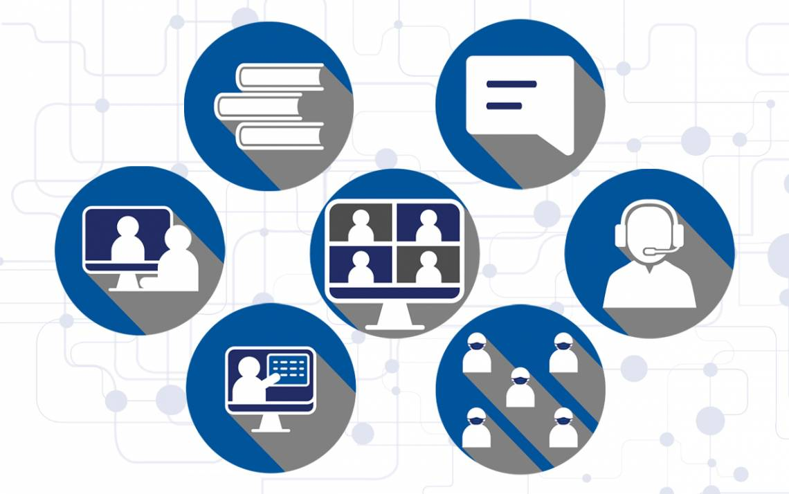 The Duke Office of Information Technology supports the Duke community's work and learning on Microsoft Teams, Zoom and other applications. Illustration by Paul Figuerado, graphic designer and publication specialist for Working@Duke.