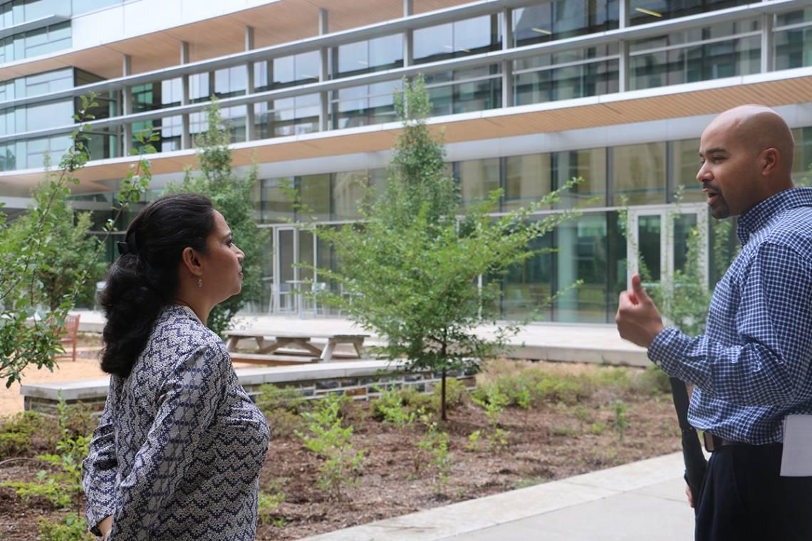 Namrata Jha, executive director of the India office, tours the Duke with Adem Gusa.